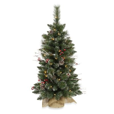 Vickerman 3 Foot Snow Tip PineBerry Pre Lit Christmas