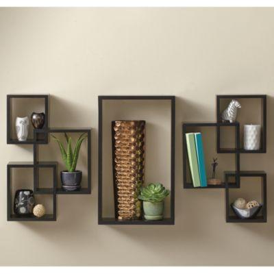 7 Piece Interlocking Wall Shelf Set In Cosmo Black Bed