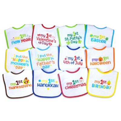 Neat Solutions 12 Pack Babys 1st Year Holiday Bib Set Buybuy BABY