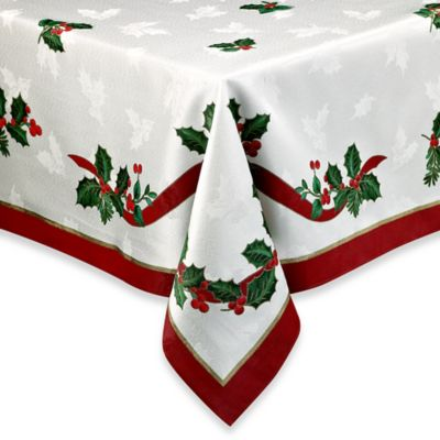 Holiday Ribbon Damask Tablecloth Bed Bath Amp Beyond