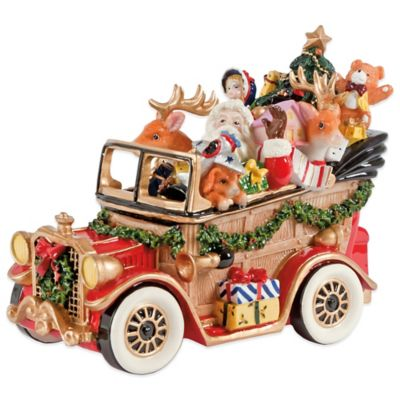 Fitz And Floyd Santa Classic Car Musical Figurine Bed