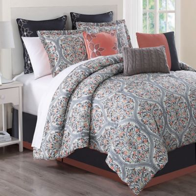 Grace 9 Piece Comforter Set In Grey Print Bed Bath Amp Beyond