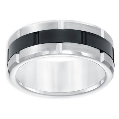 Buy Triton White And Black Tungsten Carbide Grooved Size