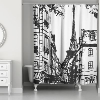 Monochromatic Paris Shower Curtain In BlackWhite Bed Bath Amp Beyond