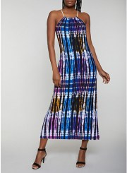 Rope Strap Tie Dye Maxi Dress in Blue Size: Medium