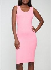Midi Tank Dress in Neon Pink Size: Medium