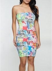 Newspaper Print Tube Dress Size: Medium