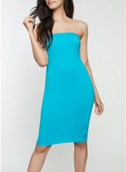 Soft Knit Tube Dress in Teal Size: Medium