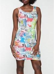 Newspaper Print Tank Dress Size: Medium