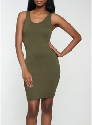 Solid Tank Dress in Olive Size: Medium