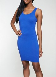 Solid Tank Dress in Royal Blue Size: Medium