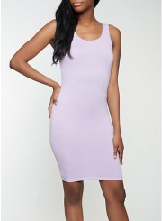 Solid Tank Dress in Lavender Size: Medium