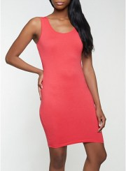 Solid Tank Dress in Red Size: Medium