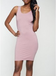 Solid Tank Dress in Rose Size: Medium