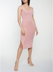 Ribbed Knit Tank Dress in Rose Size: Medium