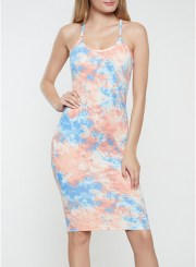 Printed Cami Dress in Blue Size: Medium