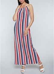 Rope Strap Striped Maxi Dress Size: Medium