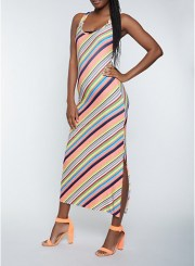 Multi Stripe Tank Maxi Dress Size: Medium