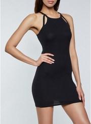 Bodycon Keyhole Dress in Black Size: Medium