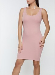 Ribbed Mini Tank Dress in Mauve Size: Medium