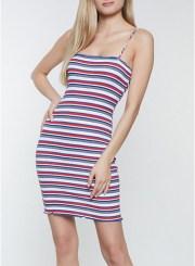 Lettuce Edge Striped Cami Dress in Navy Size: Medium