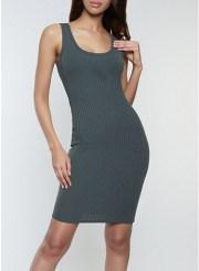 Basic Ribbed Tank Dress in Olive Size: Medium