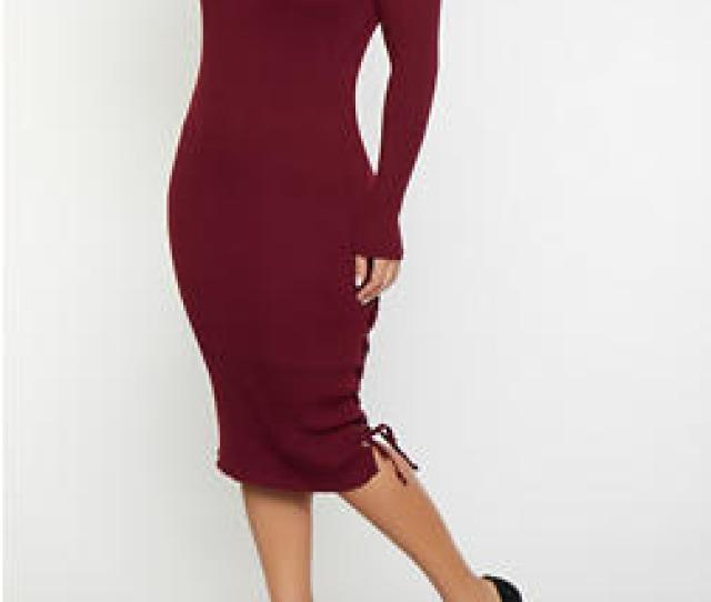Plus Size Rib Knit Sweater Dress