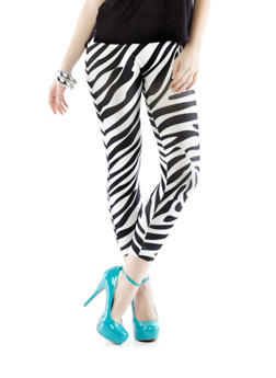 Zebra Seamless Leggings,BLACK/WHITE,medium