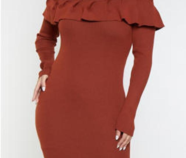 Plus Size Ruffled Sweater Dress