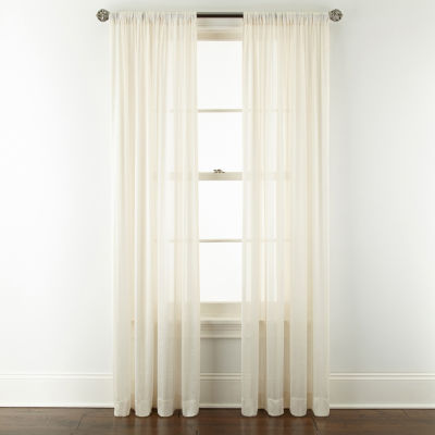 jcpenney home cherise sheer rod pocket single curtain panel
