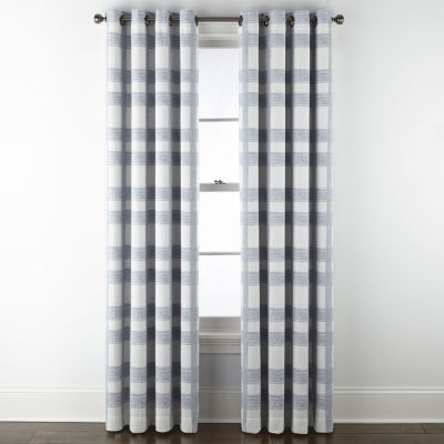 jcpenney home sullivan plaid blackout grommet top single curtain panel