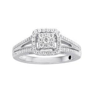 I Said Yes       3 8 CT  T W  Diamond Framed Platinaire     Engagement Ring     T W  Diamond Framed Platinaire     Engagement Ring