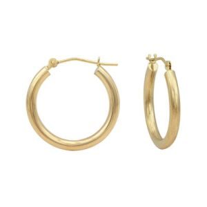 14K Gold Round Polished 21mm Hoop Earrings   JCPenney 14K Gold Round Polished 21mm Hoop Earrings