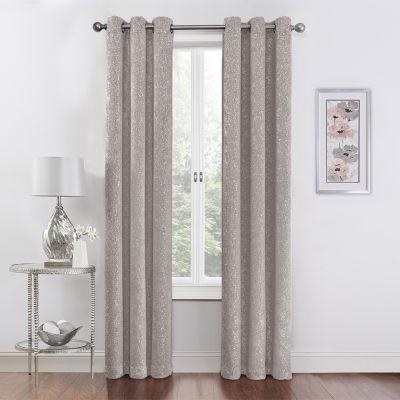 regal home metallic light filtering grommet top set of 2 curtain panel