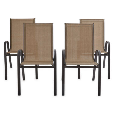 outdoor oasis melbourne sling stacking 4 pc patio chair set