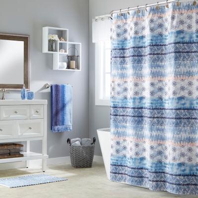 saturday knight batik blues balinese shower curtain