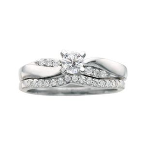 I Said Yes 3 8 CT TW Certified Diamond Bridal Ring Set T W  Certified Diamond Bridal Ring Set