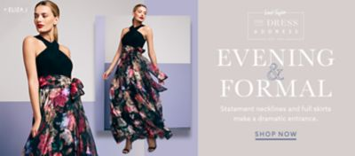 Designer Dresses For Women   Lord   Taylor Eliza J cross top gown with floral printed skirt and more eveningwear at  lordandtaylor