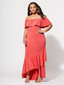 Affordable Plus Size Clothing for Women   Fashion To Figure FTF Catalina Ruffle Maxi Dress   New York   Company