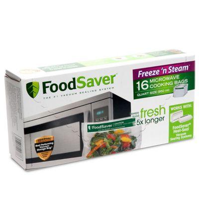 foodsaver freeze n steam microwave quart vacuum seal cooking bags 16 count