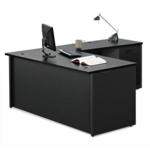 Black Desks  Versatile Home Office Desks   OfficeFurniture com Via Compact L Desk   60 W  8803864
