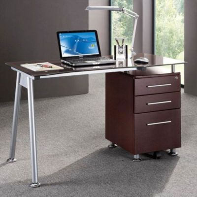 Techni Mobili Glass Computer Desk WFile Cabinet