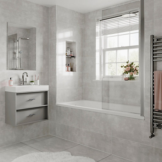 wickes alaska grey glazed porcelain wall floor tile 600x600