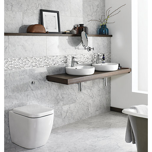 wickes boutique carrara polished marble wall floor tile 610 x 305mm