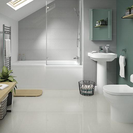 wickes boutique smart white lux glazed porcelain wall floor tile 600 x 600mm