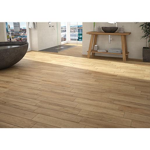 wickes mercia oak wood effect wall floor tile 600 x 150mm