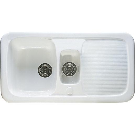 wickes ceramic farmhouse 1 5 bowl sink white