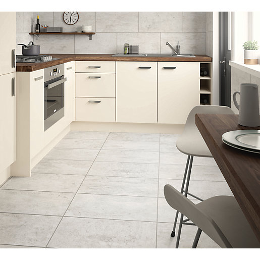 wickes city stone grey ceramic wall floor tile 600 x 300mm