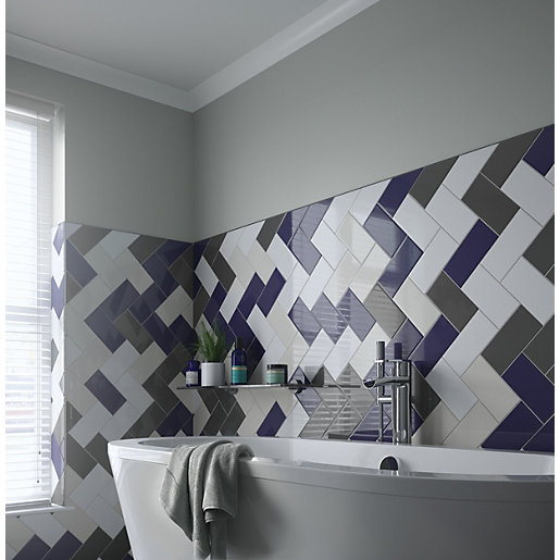 wickes cosmopolitan dark blue ceramic wall tile 200 x 100mm