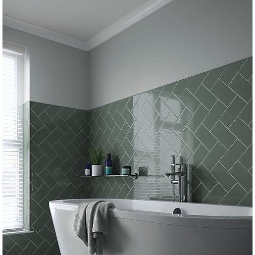 wickes cosmopolitan sage ceramic wall tile 200 x 100mm